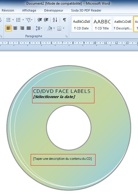 Créer facilement une jaquette CD/DVD avec Word 2007/2010