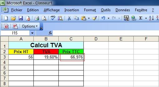 Calculer Un Prix Ht Ou Ttc Excel 2003 2007 2010